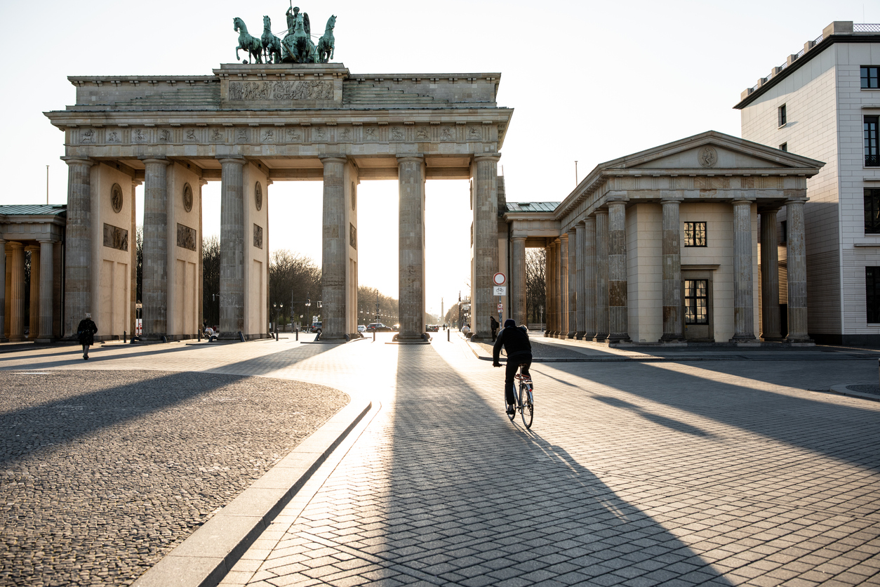Empty Brandenburg gate during the COVID-19 crisis